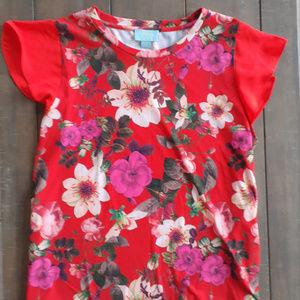 Cynthia Steffe CeCe Orange Floral Print top L